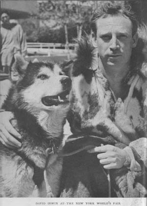 Dave Irwin with Alaskan Malamute at the New York's World Fair